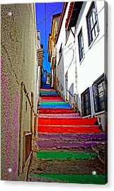 A Digitally Constructed Painting Of Multi Colored Steps In A Turkish Village Acrylic Print