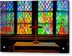 A Digitally Converted Painting Of Stained Glass Windows Acrylic Print