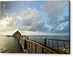 A Dock And Palapa, Placencia, Belize Acrylic Print by William Sutton