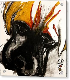 Acrylic Print featuring the drawing A Dog Called Flame by Helen Syron