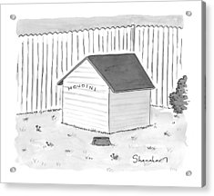 A Dog House With No Doors Is Seen With The Sign Acrylic Print