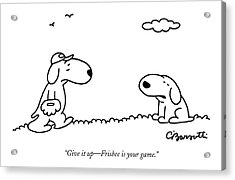 A Dog Talks To Another Dog Wearing Baseball Gear Acrylic Print by Charles Barsotti