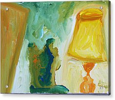 A Door A Chair And A Yellow Lamp Acrylic Print