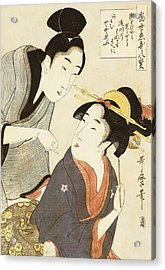 A Double Half Length Portrait Of A Beauty And Her Admirer  Acrylic Print by Kitagawa Utamaro