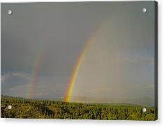 A Double Rainbow Near Durango Acrylic Print by Jeff Swan