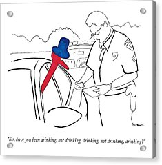 A Drinking Bird Toy Is Pulled Over By A Policeman Acrylic Print