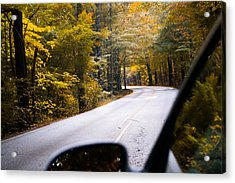 A Drive Through Autumn Acrylic Print by Shelby  Young