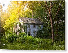 A Fading Memory One Summer Morning - Abandoned House In The Woods Acrylic Print by Gary Heller