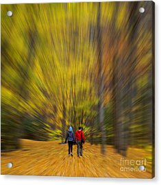 Acrylic Print featuring the photograph A Fall Stroll Taughannock by Jerry Fornarotto