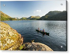 A Family Paddling In A Canadian Canoe Acrylic Print