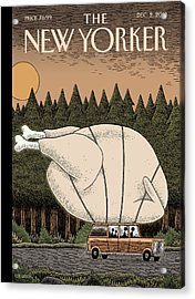 A Family Rides Home With A Giant Turkey Tied Acrylic Print