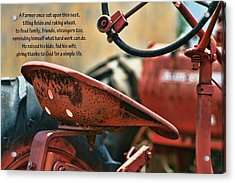 A Farmer And His Tractor Poem Acrylic Print