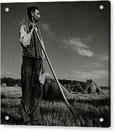 A Farmer Holding A Pitchfork Acrylic Print by Roger Schall