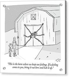 A Farmer Shows His Son A Barn That Is Locked Acrylic Print