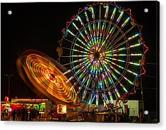 Acrylic Print featuring the photograph Colorful Carnival Ferris Wheel Ride At Night by Jerry Cowart