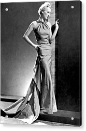 A Fashion Shot From France Showing An Evening Dress With Its Dou Acrylic Print by -