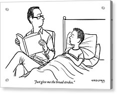 A Father Is Seen Reading A Book To His Son Who Acrylic Print