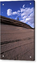 A Female Mountain Biker Mountain Biking Acrylic Print
