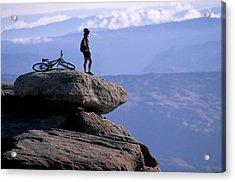 A Female Mountain Biker Stands Acrylic Print