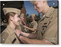 A Female Officer Recieves The Submarine Acrylic Print by Stocktrek Images