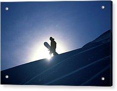 A Female Snowboarder Hiking Acrylic Print