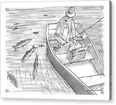 A Fisherman On A Rowboat Looks At The Fish Acrylic Print