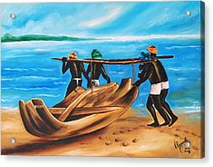 Acrylic Print featuring the painting A Float On The Ocean by Ragunath Venkatraman