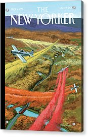 A Flying Vermont Tourism Prop Plane Oversees Acrylic Print