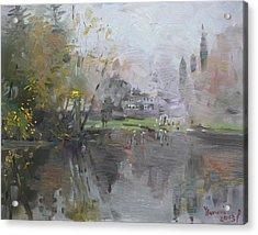 A Foggy Fall Day By The Pond  Acrylic Print by Ylli Haruni