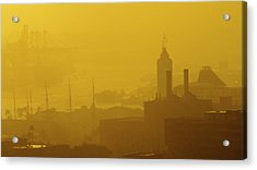 Acrylic Print featuring the photograph A Foggy Golden Sunset In Honolulu Harbor by Lehua Pekelo-Stearns