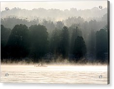 A Foggy Morning Fishing Acrylic Print by Jay Nodianos