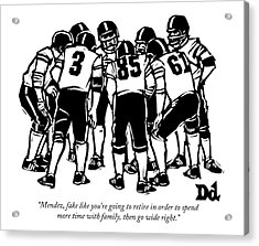 A Football Team Huddles Acrylic Print