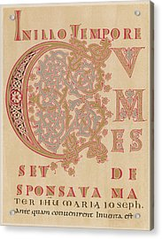 A Fragment Of Sintram's Evangelium Acrylic Print by Mary Evans Picture Library
