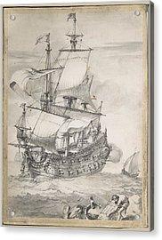 A Frigate At Sea Acrylic Print