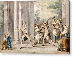 A Game Of Blind Mans Buff, C.late C18th Acrylic Print by George Morland