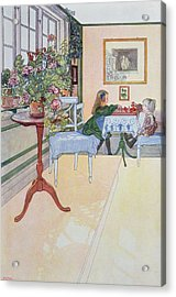 A Game Of Chess Acrylic Print by Carl Larsson