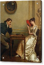 A Game Of Chess Acrylic Print by George Goodwin Kilburne