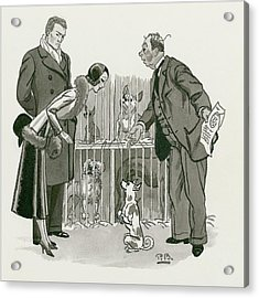 A Gentleman Selling Dogs Acrylic Print by Pierre Brissaud