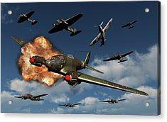 A German Heinkel He 111 Bomber Acrylic Print by Mark Stevenson
