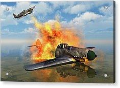 A German Messerschmitt Bf 109 Shot Acrylic Print by Mark Stevenson