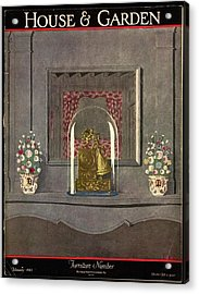 A Gilded Mantle Clock In A Bell Jar Acrylic Print