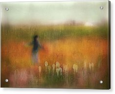 A Girl And Bear Grass Acrylic Print