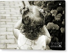 A Girl And Her Curls Acrylic Print by Andee Design