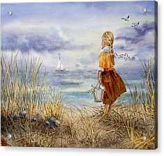 A Girl And The Ocean Acrylic Print
