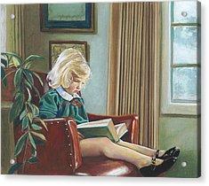 A Girl Reading Acrylic Print by Nick Payne