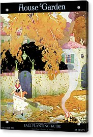 A Girl Sweeping Leaves Acrylic Print