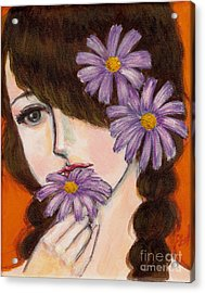 A Girl With Daisies Acrylic Print