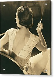 A Glamourous Woman Smoking Acrylic Print by Underwood Archives