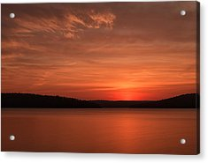A Glorious Dawn Over The Quabbin As Seen From The End Of Old Enf Acrylic Print by Stephen Gingold