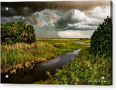 A Glow On The Marsh Acrylic Print by Christopher Holmes